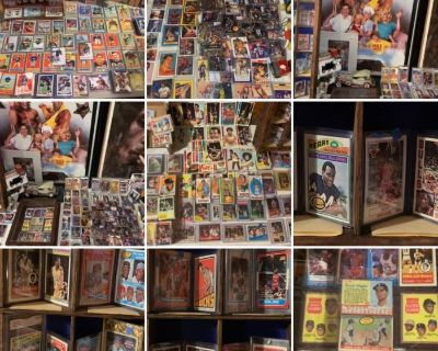 MICKEY MANTLES JORDANS KAREEM MONTANA PAYTON and tons of HOF /rookies 1000s of sports CARDS