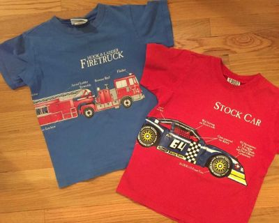 Sz. 6 Vehicle Shirts - Race car and Fire Truck - 2 sided, vehicle continues on back