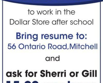 STUDENT to work in the Dolla...