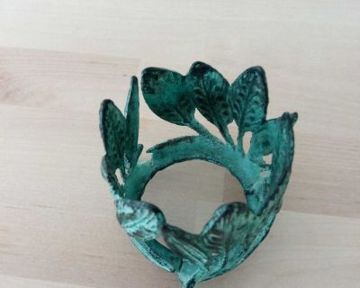 Teal Distressed Wrought Iron Votive Candle Holder