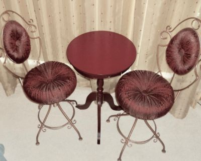 Rare Vintage Miniature Iron Table and Chairs Set