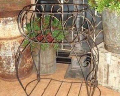 Large Vintage Rustic Wrought Iron Tiered Plant Stand Basket Display Stand