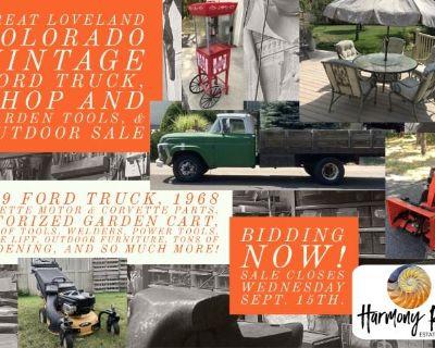 Loveland '59 Ford Truck, '68 Corvette Engine, Riding Lawn Cart, Shop tools, Home & Garden Auction
