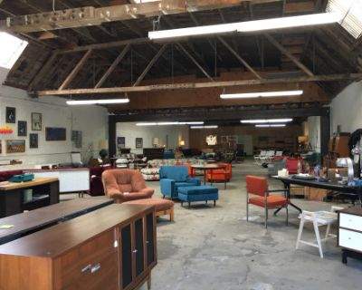 Downtown Industrial Open Bow-truss Warehouse with Vintage Furniture, Los Angeles, CA