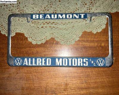 Beaumont Texas Allred dealer license plate frame
