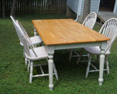 Solid Wood Farm Table with Four (4) Chairs