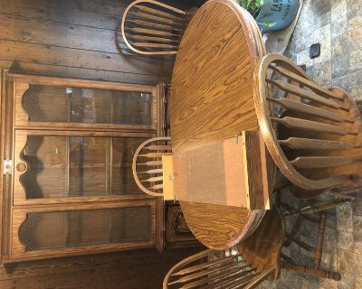 Dining table and China cabinet 4 chairs
