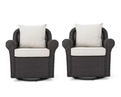 NEW - IN-BOX - TWO (2) OUTDOOR/PATIO AMAYA STRONG SYNTHETIC WICKER SWIVEL/ROCKING CHAIRS