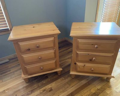 Solid pine night stands x2