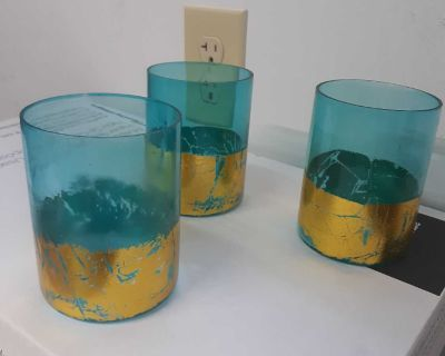8 teal candle holders
