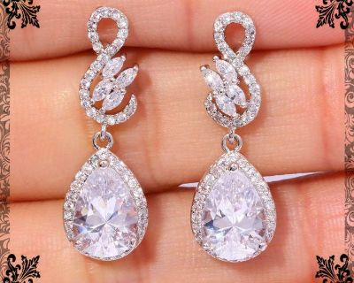 New - White Topaz and Zircon Silver Earrings