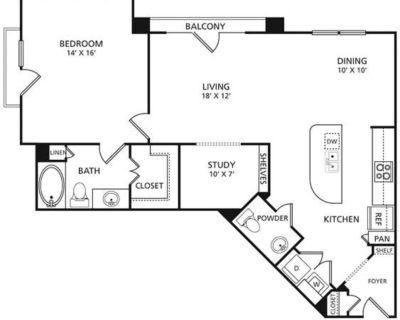 1.5 bed/1.5 bath 1045 sq ft lease for $1277 North Dallas