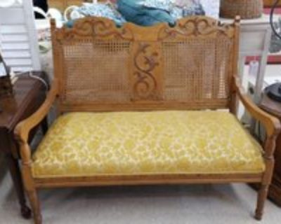 Oak Settee with Gold Chenille Fabric #1265-6272