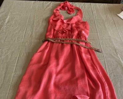 Women s Clothing Pink Dress with Brown Belt Size L