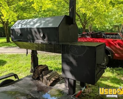 Large Homemade Barbecue Smoker Trailer / Used Mobile BBQ Unit
