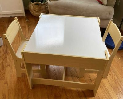 Sensory table with white board and Chalk board