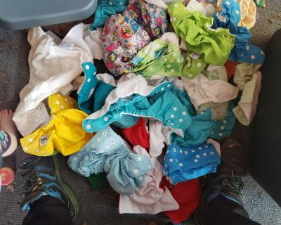 Cloth diapers and bamboo inserts and bags