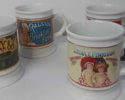 Vintage advertising mugs