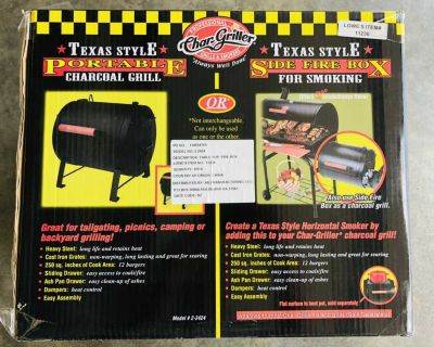 New Char-Griller 2-2424 Table Top Charcoal Grill
