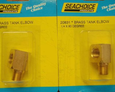 """Fuel Fitting 90 Degree Elbow 1/4"""" Pipe Brass 20831 Pair Fuel Parts Boat Tank"""