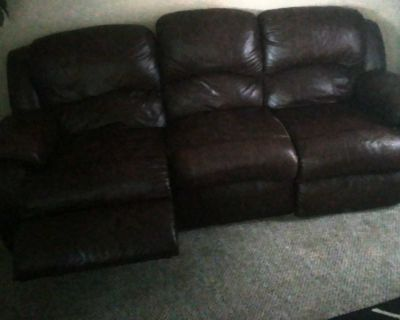 Dark brown leather Recliner sofa