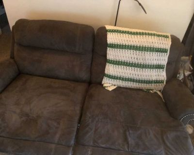 Grey electric reclining couch