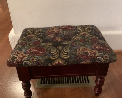 stool wood with storage tapestry fabric