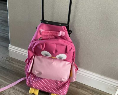 Rolling backpack suitcase (pink owl)