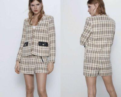 NWT Zara Beige Frayed V Neck Tweed Blazer L 2505/169