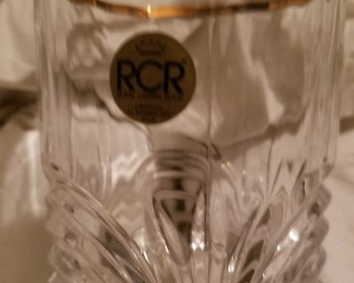 Royal Crystal Rock Aurea Pattern Clear Double Old Fashioned Gold Rim