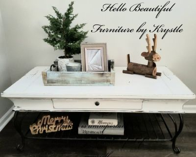 White, Farmhouse, Rustic, Coffee Table