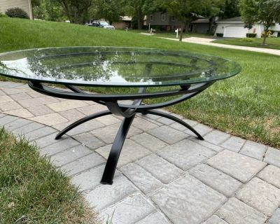 Oval Metal and Glass Coffee Table