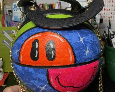 Handpainted Basketball Bag