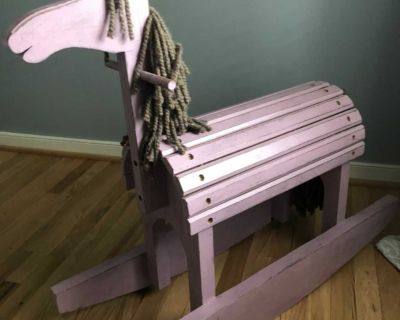 Wooden Rocking Horse with Hair and Tail