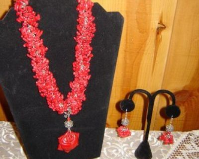 Red Coral Necklace with Pendant and Earrings