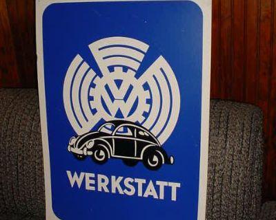 Rare Vintage WERKSTAT VW Poster Sign Large 20x28