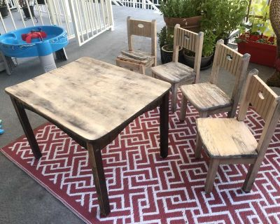 Wood table and chairs for project