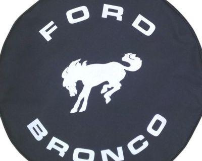 Sparecover Brawny Series - Ford Bronco Black Denim Textured Vinyl Tire Cover
