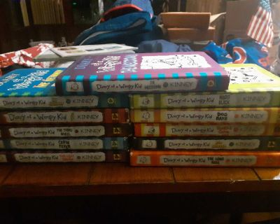 11 of the 1st 14 Diary of a wimpy kids hard cover books