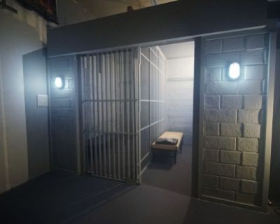Jail / Prison Cells with rolling bars and cots standing set, mini studio, Van Nuys, CA