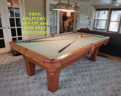 Olhausen 8' Pool Table-FREE DELIVERY, SET-UP and NEW FELT INCLUDED!