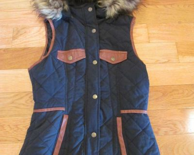 My Michelle Size Small Dark Navy vest with removable hood