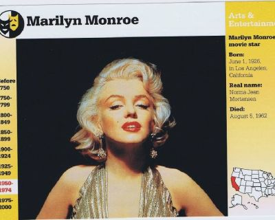 Marilyn Monroe Actress -1995 Grolier Information Card Story of America