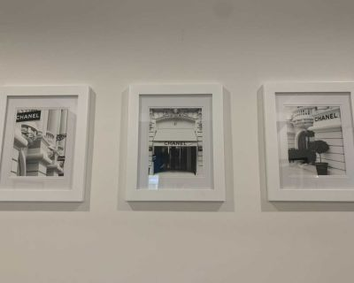 3 Chanel store black and white framed pictures