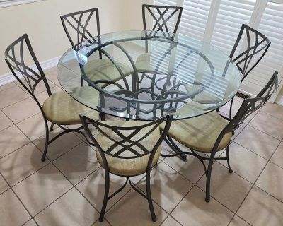 Kitchen Table & Chairs - Wrought Iron & Glass