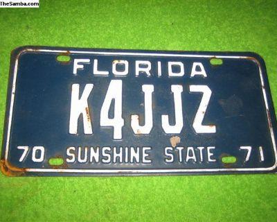 NOS 1970-1971 florida license plate
