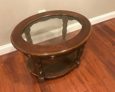Elegant Wooden Oval Coffee Table with Glass Top