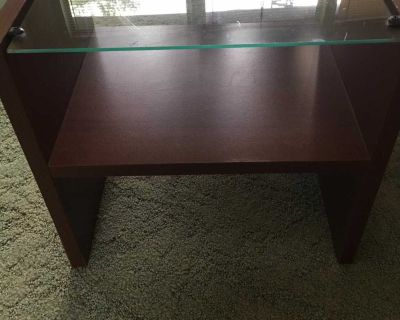 Small Wood and Glass Nightstand/Sidetable