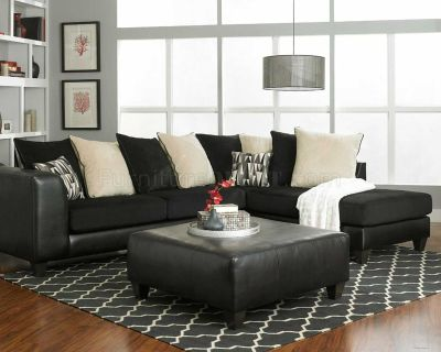 Sectional sofa in black and beige