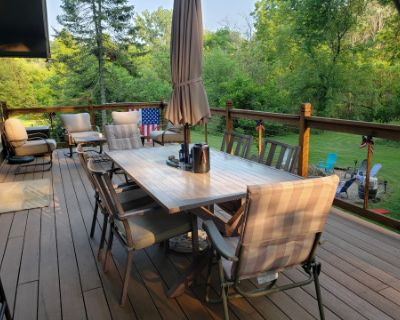 Large Fire Pit and a Deck with a Creek Running Through It, Elgin, IL